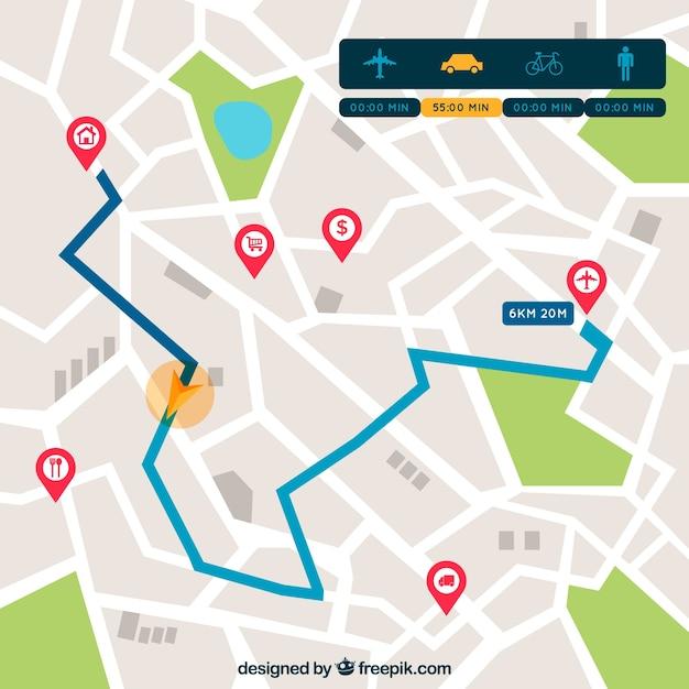 Mapa De Ruta Con Punteros En Estilo Plano Vector Gratis