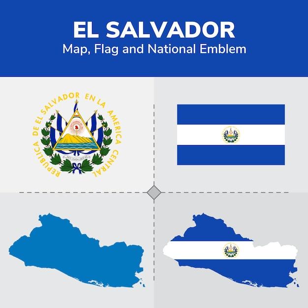 Mapa De El Salvador Bandera Y Emblema Nacional Descargar Vectores