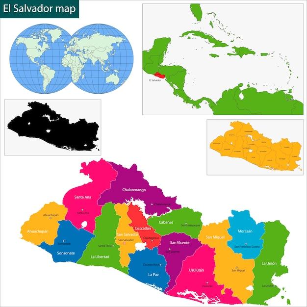 Mapa De El Salvador Descargar Vectores Premium