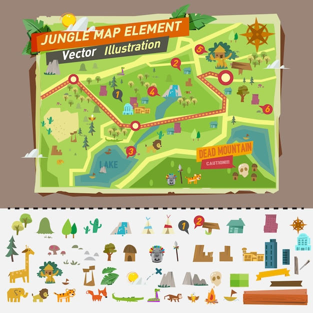 Mapa de la selva con elementos gráficos. Vector Premium