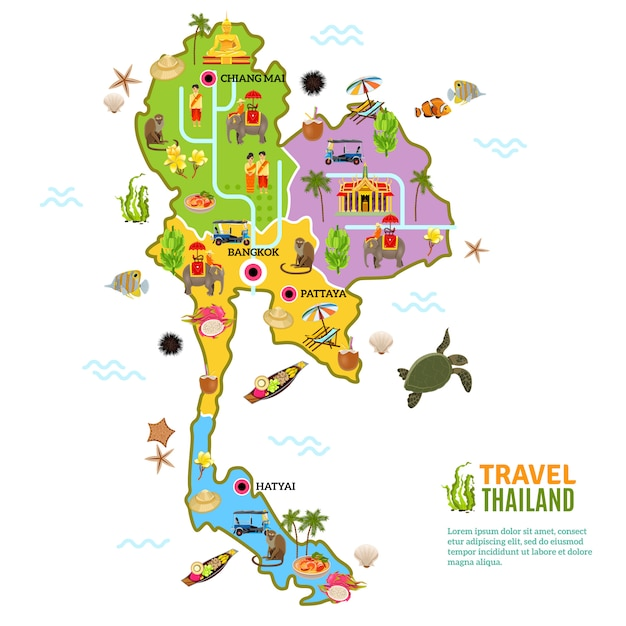 Mapa de tailandia póster vector gratuito