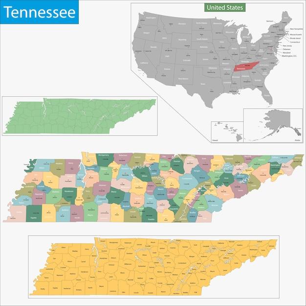 Mapa de tennessee | Vector Premium