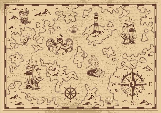 Mapa del tesoro pirata viejo monocromo vintage vector gratuito