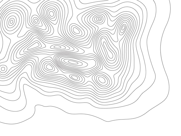 Mapa topográfico. cartografía montañas contornos, mapas de elevación y topología de contornos de tierra Vector Premium