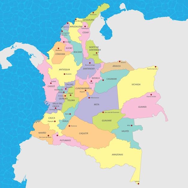 Mapa del vector de colombia | Vector Premium