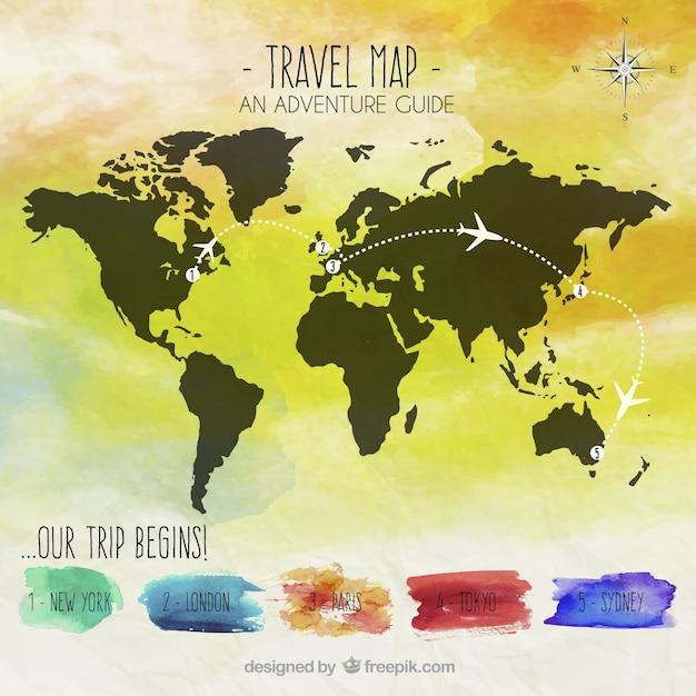 Mapa De Viajes De Acuarela Vector Gratis