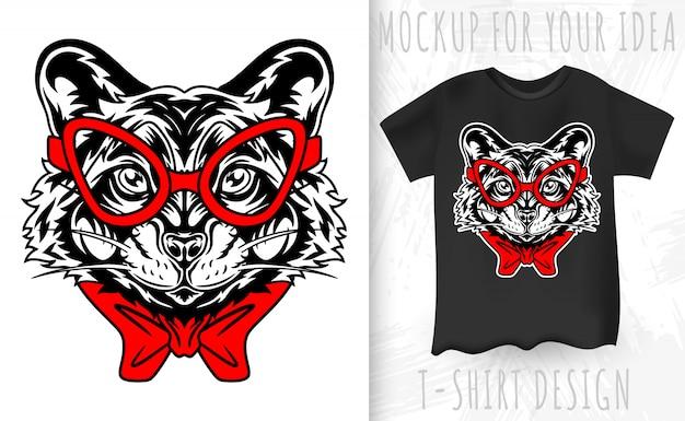 Mapache cara de estilo retro. idea de diseño para estampado de camiseta en estilo vintage. Vector Premium