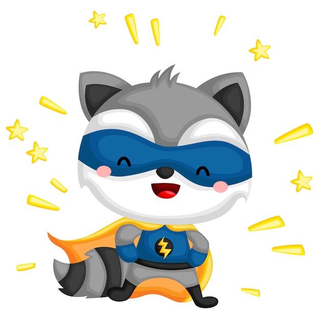 Mapache disfrazado de superhéroe Vector Premium