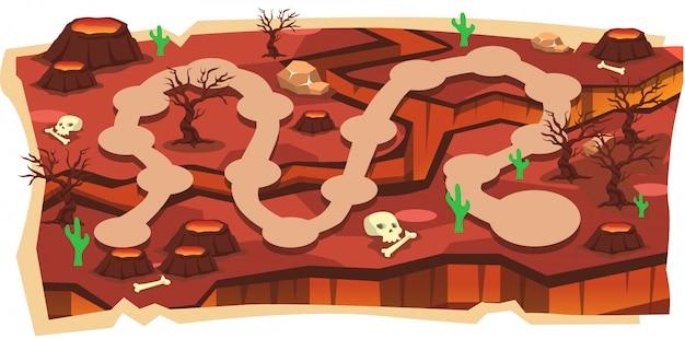 Mapas de juego de volcano magma 2d con ruta y tierra roja Vector Premium