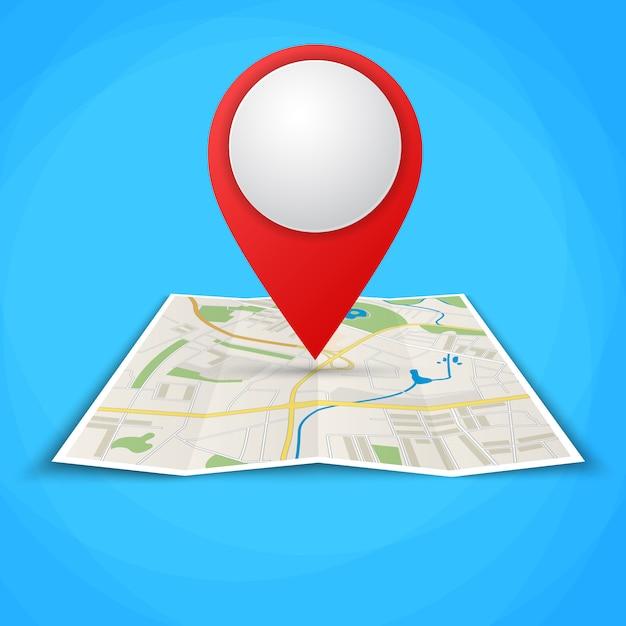 Mapas plegados con marcadores de puntos de color Vector Premium