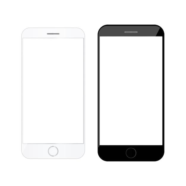 Maqueta en blanco teléfono inteligente teléfono inteligente Vector Premium