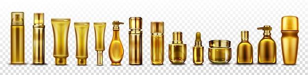 Maqueta de botellas de cosméticos dorados, tubos de cosméticos dorados para esencia, vector gratuito