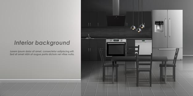 Maqueta del interior de la sala de cocina con electrodomésticos, refrigerador, cocina con cocina. vector gratuito