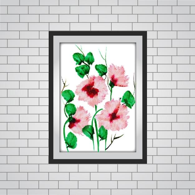 Maqueta de marco floral de acuarela vector gratuito