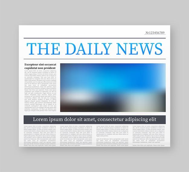 Maqueta de un periódico en blanco. periódico completo totalmente editable en máscara de recorte. ilustración de stock. Vector Premium