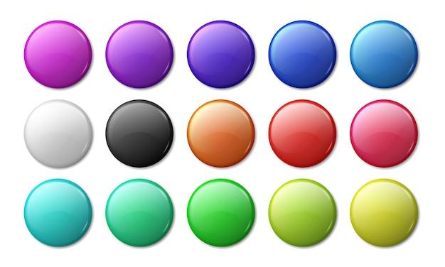 Maqueta de placa redonda. insignia 3d con imán circular, etiquetas simples de plástico o metal brillante. Vector Premium