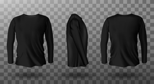 Maqueta realista de camiseta negra de manga larga vector gratuito