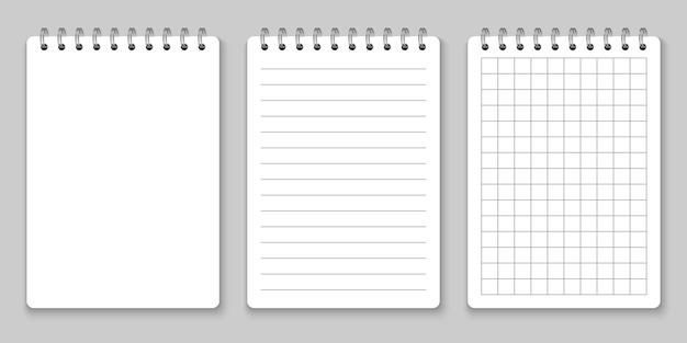 Maqueta realista de cuaderno espiral Vector Premium