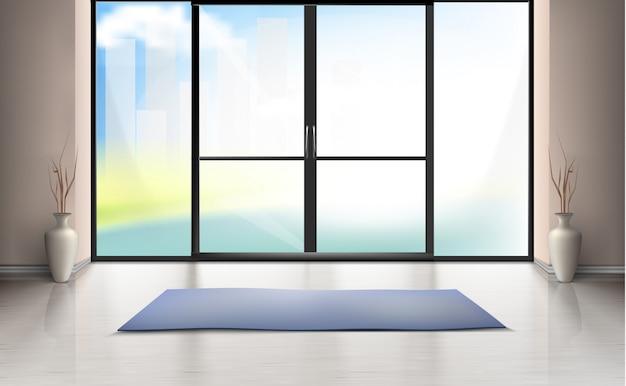 Maqueta realista de habitación vacía con puerta de vidrio grande, alfombra azul en piso limpio vector gratuito