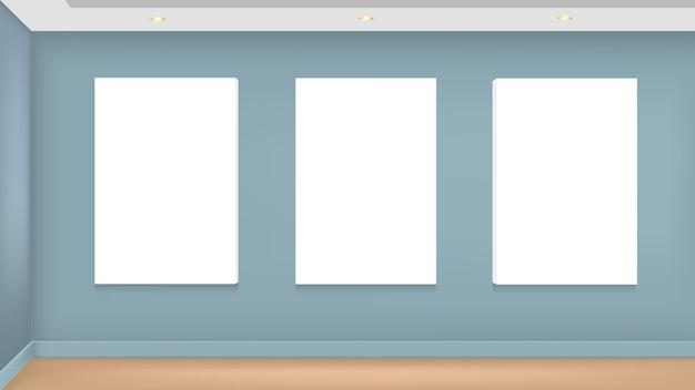Maqueta realista vector de imagen en blanco en la pared Vector Premium