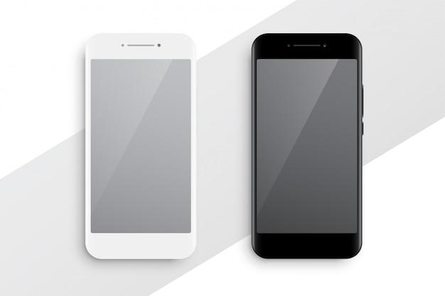 Maqueta de smartphone en blanco y negro vector gratuito