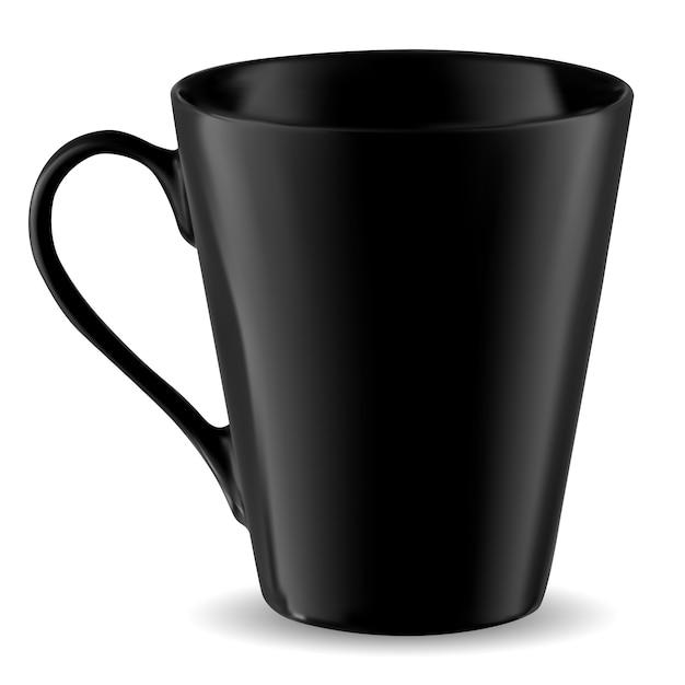 Maqueta de taza, plantilla de taza negra aislada Vector Premium