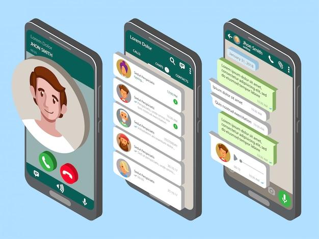 Maqueta de teléfono con mensajería móvil en pantalla. Vector Premium