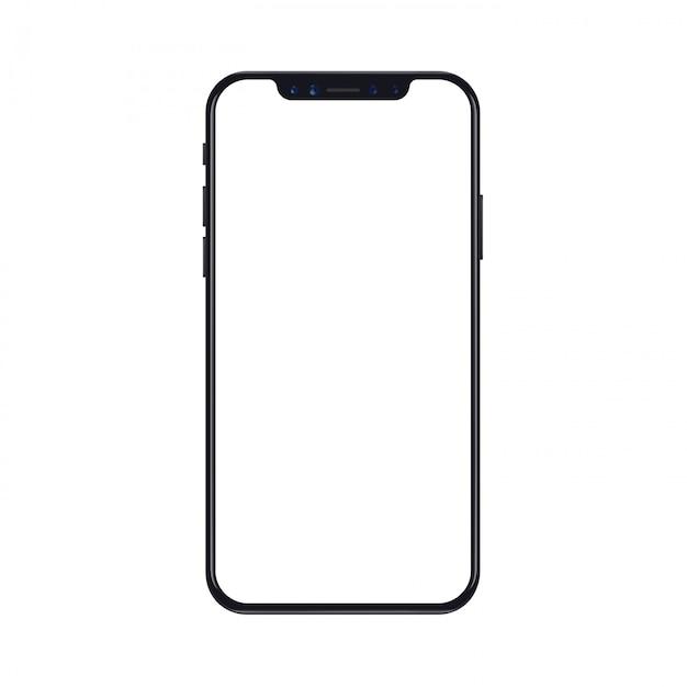 Maqueta de teléfono móvil inteligente aislado sobre fondo blanco con pantalla en blanco Vector Premium
