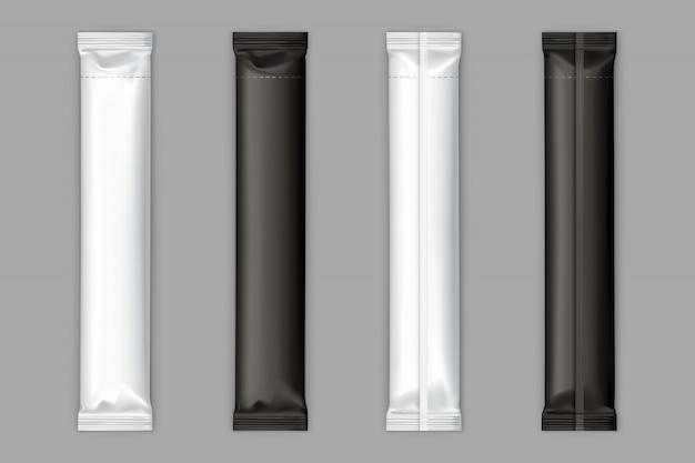 Maqueta de vector de palos de bolsita de azúcar blanco y negro vector gratuito