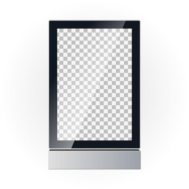Maqueta de vector de una pantalla de tablero publicitario. publicidad exterior. caja ligera. Vector Premium