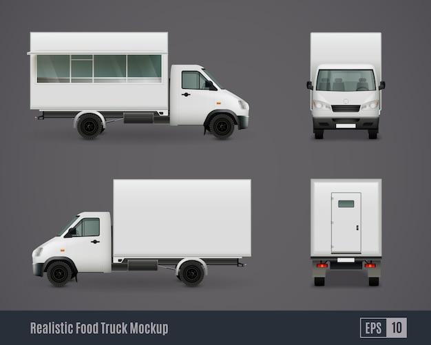 Maquetas de furgonetas de motor de alimentos vector gratuito