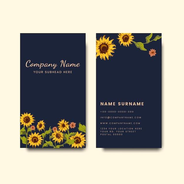 Maquetas de tarjetas de visita con diseño de girasol. vector gratuito