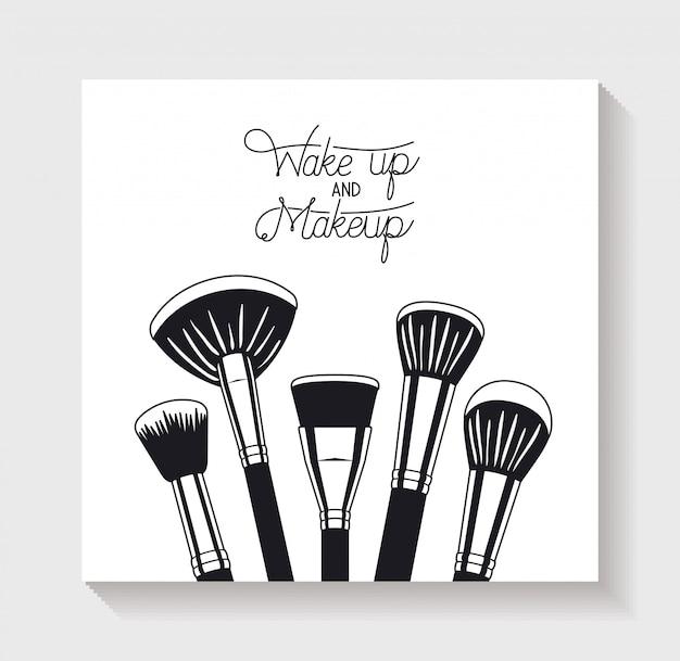 Maquillaje cepillos accesorios iconos vector gratuito