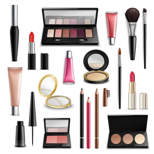 Maquillaje cosmética accesorios realista. colección de artículos. vector gratuito