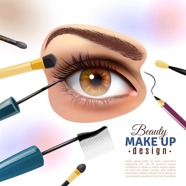 Maquillaje de ojos borrosa fondo cartel vector gratuito