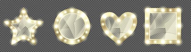 Maquillaje roto espejos dorados con bombillas vector gratuito