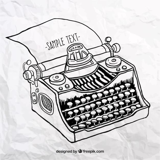 Máquina de escribir dibujada a mano | Descargar Vectores Premium