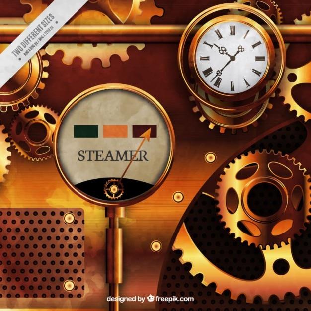 Máquina dorada en estilo steampunk vector gratuito