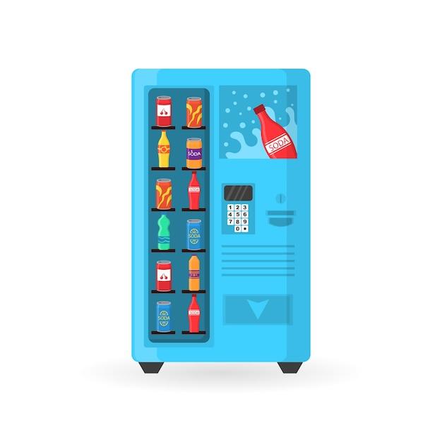Máquina expendedora de bocadillos de comida rápida, bebidas, nueces, papas fritas, galleta, jugo, sándwich. Vector Premium