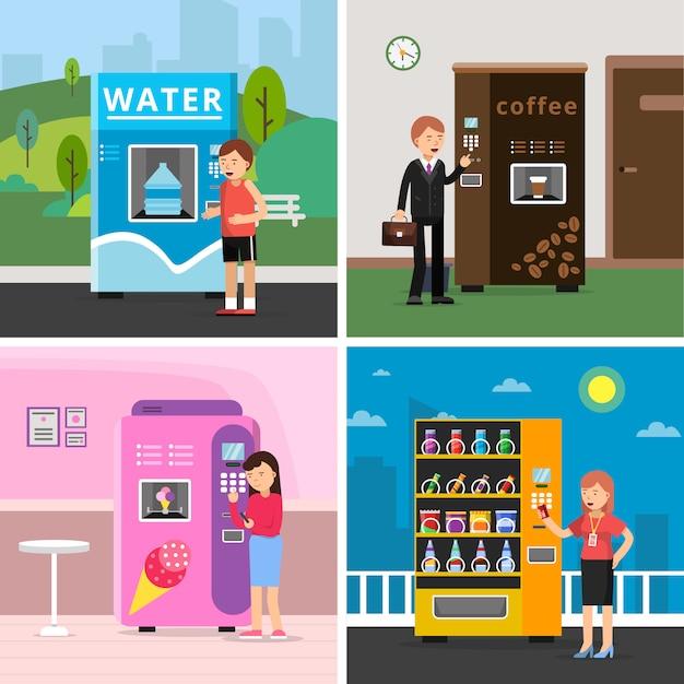 Máquinas expendedoras de alimentos. las personas que compran varios aperitivos beben galletas de café y crujientes de autómata Vector Premium
