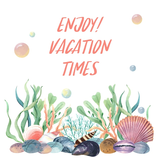 Mar concha marina vida verano viajes en la playa vector gratuito