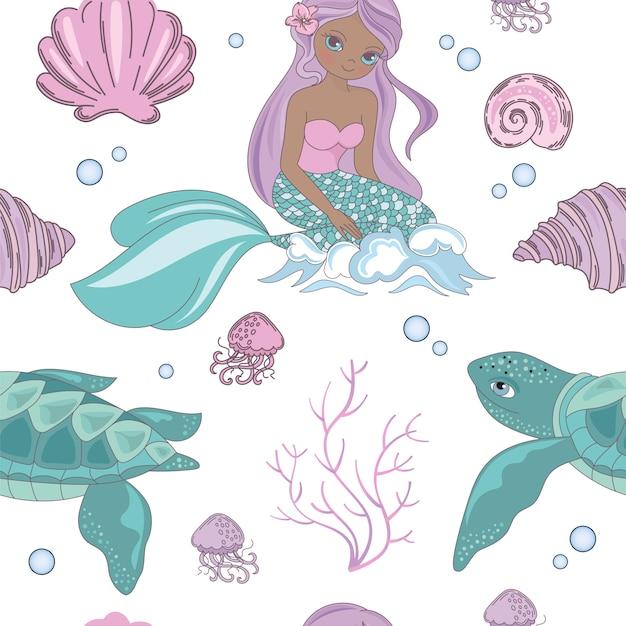 Mar patrón de la princesa sirena sin fisuras Vector Premium