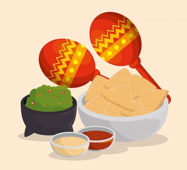 Maracas con comida mexicana al evento del día de los muertos vector gratuito