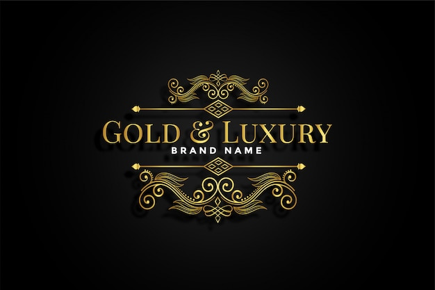 Marca floral ornamental dorada de primera calidad. vector gratuito