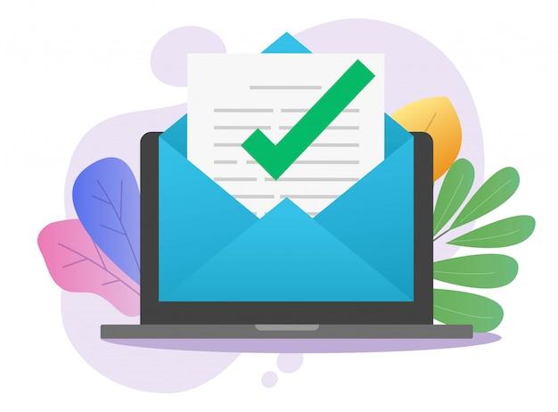 Marca de verificación de aviso de correo electrónico digital aprobado en el documento de carta de correo en línea en la computadora portátil Vector Premium