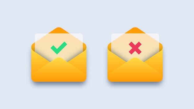 Marca de verificación verde y cruz roja en sobres de correo Vector Premium
