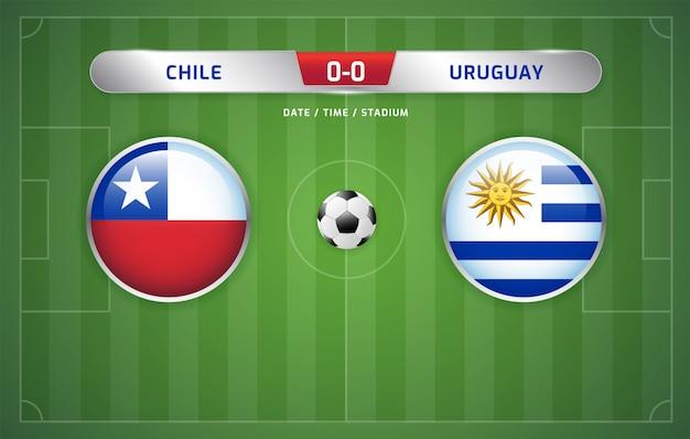 Marcador chile vs uruguay fútbol transmitido torneo de sudamérica 2019, grupo c Vector Premium