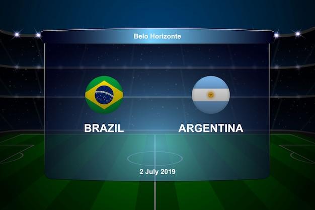 Marcador de fútbol brasil vs argentina Vector Premium