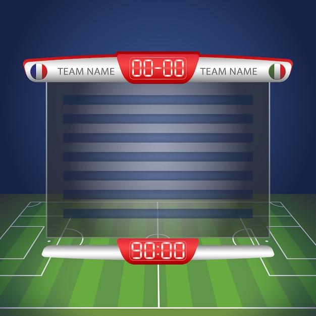 Marcador de fútbol con tiempo y visualización de resultados. Vector Premium