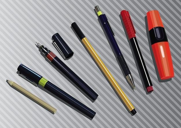 marcador, lápiz y pluma gráfica Vector Gratis